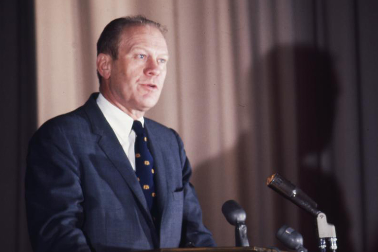 President Gerald Ford speaks at IU